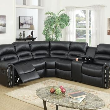 Bonded Leather 3 Piece Reclining Sectional, Black