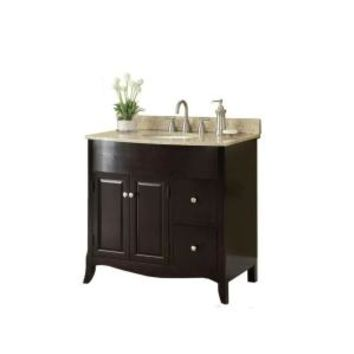 37 in. W x 35 in. H x 22-1/2 in. D Vanity in Espresso with Marble Vanity Top in Cream and White Basin, MD-V1201 at The Home Depot - Mobile