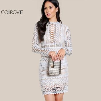COLROVIE Circle Guipure Lace Dress Sexy Cut Out Women Bodycon White Overlay Dresses Fall Fashion Zip Up Elegant Party Dress