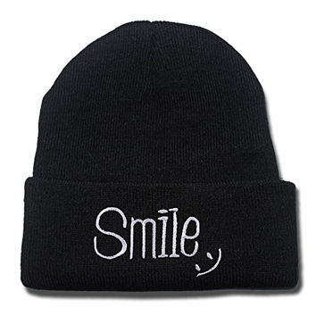 YUGY Smile Design Beanie Embroidery Beanies Skullies Knitted Hats Skull Caps