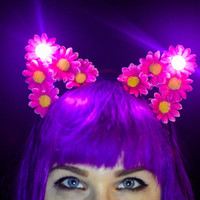 light up led flower cat ear headband, led flower cat ears, floral cat ears, ariana grande, festival wear, light up cat ears, flower cat ears