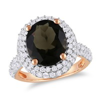 4 7/8 Carat Smokey Quartz and White Sapphire Fashion Ring in Sterling Silver