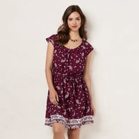 Women's LC Lauren Conrad Pleated Paisley Shift Dress
