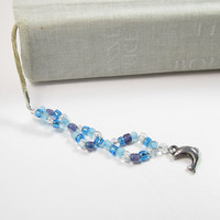 Dolphin Beaded Book Mark - Blue Beaded Bookmark - Beaded Book Thong