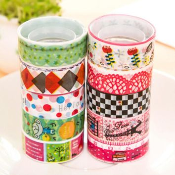 Peerless 50 Rolls Platic Cartoon Diary Lace Tape Decorative Washi Tape Adhesive Tape Masking Tape Adhesive Decor