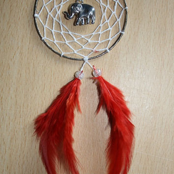 Patterned trim dream catcher with redfeathers, white web and a silver elephant charm finish 7cm diameter dreamcatcher hand made