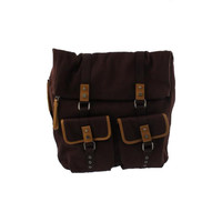 Bodhi Handbags Mens Army Vintage Canvas Fold Over Backpack