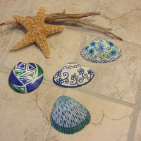 Zentangle Painted  Sea Shell Home Coastal Decor Blue, Green and White Art  Nature Tropical Beach