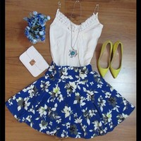 046552 Cute Sexy Flower Print Party sleeveless Casual dress   Candy Blue Shop