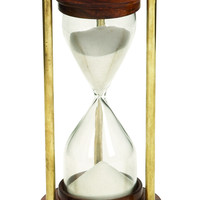 Wood Timer With Brown Wood Base And Brass Finish Rods
