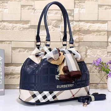 Perfect Burberry Women Leather Shoulder Bag Tote Handbag Satchel