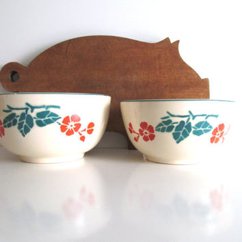 Vintage Mixing Bowls Bennett Bakeware Orange Poppies Green Leaves Pottery Bowls