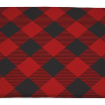 "GP Lumberjack Plaid Pattern Tilted Bath Mat, Microfiber, Foam With Non Skid Backing, 34""x21"", GN19890"