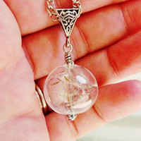 Real Dandelion Seed Glass Orb Necklace, Lucky You
