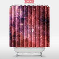 Red Milky Way Nebula Space Galaxy Shower Curtain Free shipping Home 012