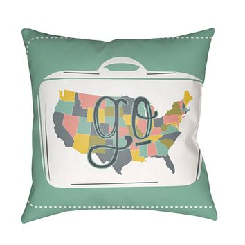 Jetset Pillow Cover - Bright Red, Dark Green, White, Bright Yellow, Pale Pink - JT015