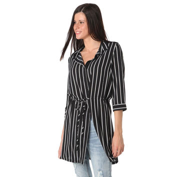 Black stripe blouse in mid length with tie detail