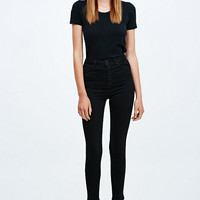 Light Before Dark Super High-Rise Skinny Jeans in Clean Black - Urban Outfitters