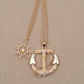 Fashion Women Alloy Crystal Rhinestone Charm Gold Plated Anchor Sweater Necklace -FREE SHIPPING
