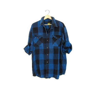 20% OFF SALE Vintage Blue and Black Buffalo Check Plaid Flannel. Boyfriend Flannel. Boy Shirt. Lumberjack. Grunge Shirt. Button up shirt 2XL