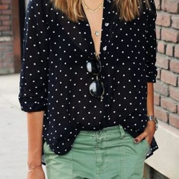 Polka Dot Print Button Down V Neck Long Sleeve Shirt