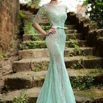 Amazing Lime Green Long Sleeve Evening Dress Sexy Backless Beaded Lace Prom Gowns 2016 New F11123
