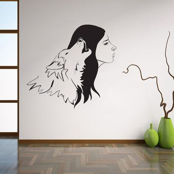 Wolf and Women Vinyl Wall Sticker Howling Animal & Womans Silhouette Art Home Decal  Living Room Perfect Couple Mural L119