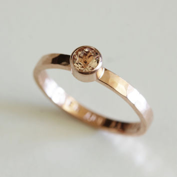 14k Hammered rose gold Morganite engagement ring
