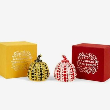 Pumpkins (Yellow & Black, Red & White) Painted Cast Resin Sculpture Yayoi Kusama