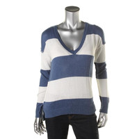 27 miles malibu Womens Cashmere Blend Striped V-Neck Sweater