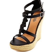 Braided T-Strap Jute Wedge Sandal: Charlotte Russe