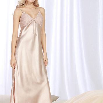 Slinky Long Nightgown with Lace trimmed fluted bodice