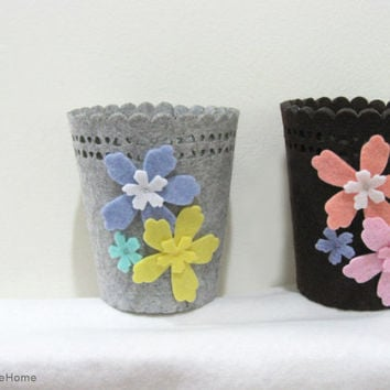 2 Pieces Set. Spring Garden. Decorative Pretty Small Felt Baskets. Grey and Brown Set. Storage Organizer