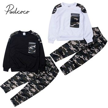 2019 Brand New 2-9Y Toddler Kids Baby Boy Clothing Set Pocket Pullover Tops Camo Pant 2PCS Outfits Tracksuit Long Sleeve Outfits