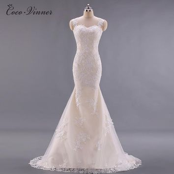 C.V Custom made fashion Lace Mermaid Wedding dresses 2018 new sleeveless backless fish tail long wedding Gown China W0022