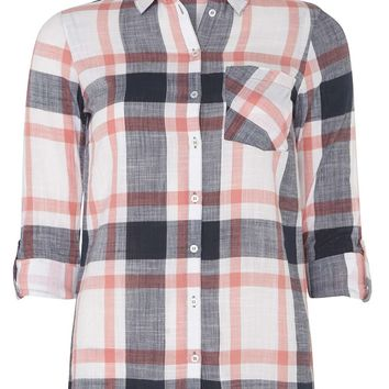 Pink and Blue Slub Checked Shirt - Blouses & Shirts - Clothing