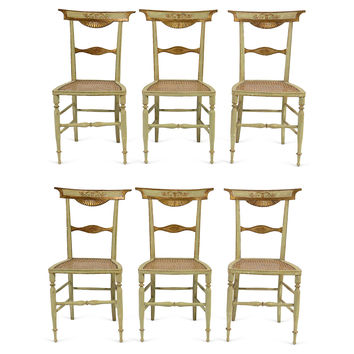 French Directoire Period Chairs, Set of 6, Side Chair, Dining Chair Set