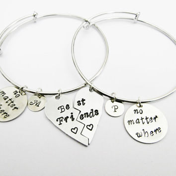Best Friends Bangle Bracelet Set 2 Friendship Bracelets, Half Heart Friendship Jewelry, Gift Best Friend Jewelry, no matter where, initial