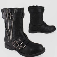 leatherette zipper trim bootie $27.50 in BLACK CHESTNUT TAUPE - Booties | GoJane.com