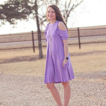 Ruffled Cup Dress with Pockets in Lavender
