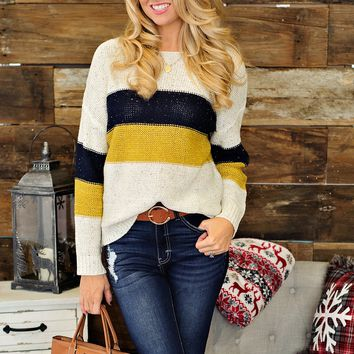 * Happiest Hour Striped Knit Sweater: Ivory/Navy/Mustard