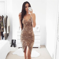 Spaghetti Strap Dress Scales Sexy One Piece Dress [9631633615]