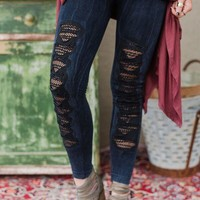 Ripped Denim Fishnet Jeggings - Denim