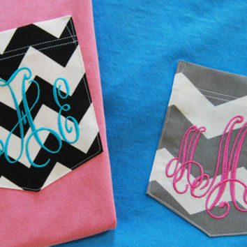 Monogrammed Pocket Comfort Colors Short Sleeve T Shirt