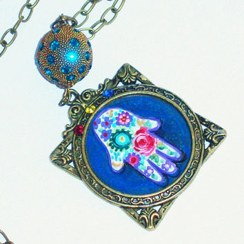 Blue Hamsa Pendant Hand Paint Psychadelic Floral Long Boho Hippie Necklace