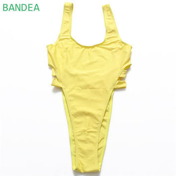 BANDEA Bikini Women New High Waist  One Piece Bikini Swimsuit Monokini Cut Out Bandage Swimwear Solid Beachwear Bathing Suit