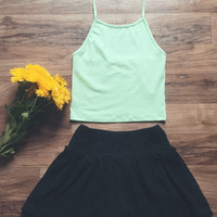 Mint Halter Crop Top