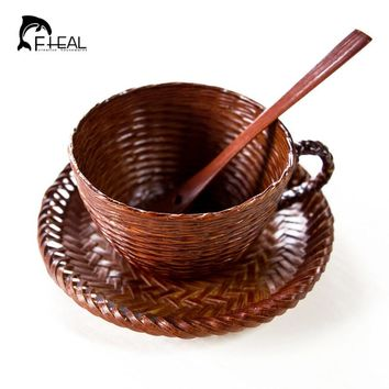FHEAL Creative New Eco Vintage Bamboo Cup Woven Impermeable Leakage Coffee Mug Sets With Dish Spoon for Milk Coffee Tea
