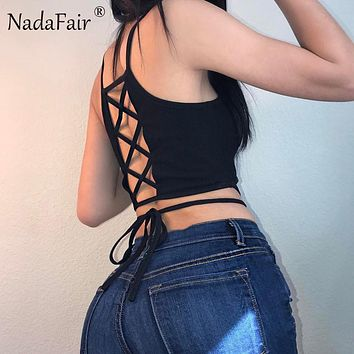 Sleeveless Backless Criss Cross Lace-up Women Crop Tops White Black T Shirts