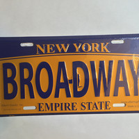 Broadway New York State License Plate